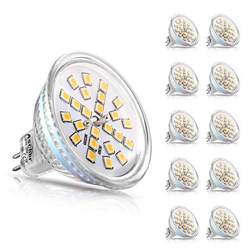 Ascher 10er Pack MR16 GU5.3 LED Lampen, 400lm, Ersatz für 50W Halogenlampen, 4W, 12V AC/DC, Warmweiß,120 ° Ausstrahlungswinkel, LED-Reflektorlampe mit GU5.3-Sockel -