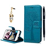 iPhone 6 Case, iPhone 6S Case, YOKIRIN Vintage Retro [Owl & Tree] Elaborately Embossed Premium PU Leather Case Smooth Wallet Folio Flip Stand Cover Full Protection Shell Built-in Card Cash Holders For iPhone 6/ iPhone 6S - Blue