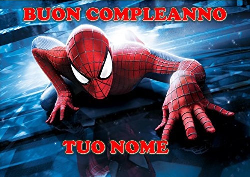 Spiderman Home Coming Herren Spinne Waffel in Ostia für Kuchen personalisierbar-Kit N ° 10cdc- (1Waffel in Ostia Abmessungen Folio A4210× 297mm)