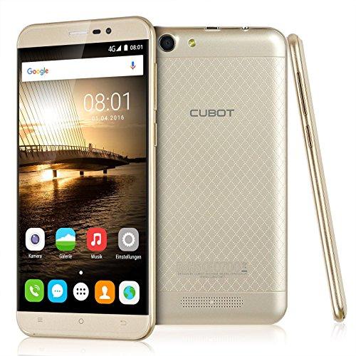 Cubot Dinosaur Smartphone Ohne Vertrag (5.5 Zoll HD IPS-Display, MT6735A 1,3 GHz 64 Bit Quad Core, 4G FDD-LTE Android 6.0 Handy, 3GB Ram, 16 GB interner Speicher, 8MP Frontkamera / 13MP Hauptkamera, IPS 2.5D gebogener Bildschirm und Rutschhemmende Rückabdeckung, 4150 mAh Batterie, Dual SIM) Gold