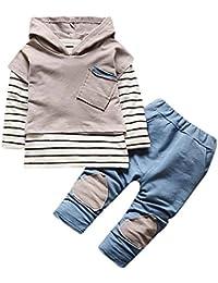 Conjuntos Bebe Newborn Navidad, Zolimx Recién Nacidos Bebé Niños Niñas con Capucha Raya Camiseta Tops + Pantalones Ropa de Otoño Invierno Conjuntos Trajes
