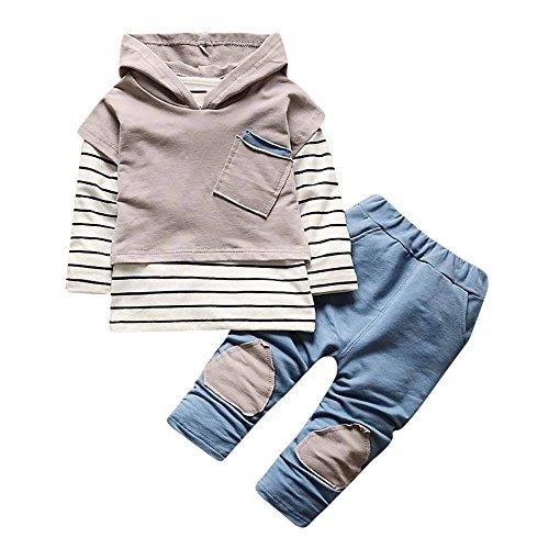 Hmeng Kleinkind Kinder Baby Outfits Kapuzen Streifen T-Shirt Tops + Pants Kleidung Set (Grau, L/100)