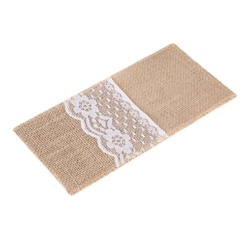 Zerodis Jute Lace Cutlery Holder Natural Burlap Hessian Cutlery Holders for Silverware Napkin Vintage Shabby-chic Tableware Cover Knife Forks Pocket Bags for Wedding Table Decoration 10 Pack