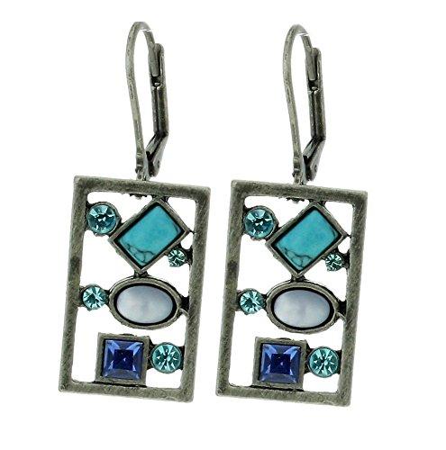 Rechteckige antike Ohrringe silber farbig mit blauen Steinen - Schmuck