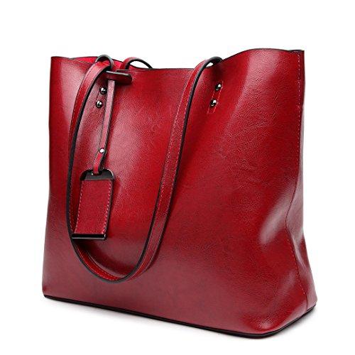Miss Lulu Damentasche Henkeltasche Handtasche Elegant Schultertasche Shopper PU-Leder (E6710-Dunkelblau) E6710-Wein