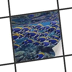creatisto Fliesenmuster Deko-Folie | Fliesen-Folie Sticker Aufkleber selbstklebend Badezimmer renovieren Küche Dekoration Küche | 10x10 cm Design Motiv Fish swarm - 1 Stück