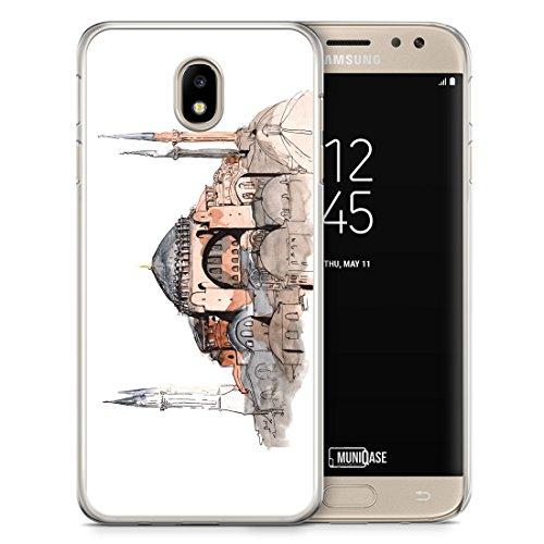 Samsung Galaxy J3 (2017) Hülle - Hagia Sophia Ayasofya Istanbul Türkei - Motiv Design Türkiye Cami Islam - Transparente durchsichtige Handyhülle Hardcase Schutzhülle Cover Case Schale Hardcover