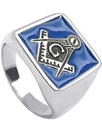 KONOV Joyería Anillo de hombre mujer, Sello Masonic, Masónico, Masónica, Acero inoxidable, Color azul plata (con bolsa de regalo)