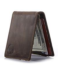 Win&Income Geldbörse mit Geldklammer für Herren, Echt Leder Geldbeutel mit RFID Schutz, Brieftasche mit Geldscheinklammer, Kreditkartenetui mit Geldclip, Portemonnaie mit Dollarclip,Braun