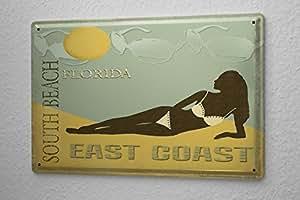 Agence De Voyage De Vacances De Décoration Plaque Émaillée Femme en bikini en Floride Paroi Métallique Signes 20X30 cm