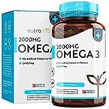 Omega 3 (2000mg) - 660 mg EPA e 440 mg DHA - Capsule di gel morbide all'olio di pesce puro - Prodotto nel Regno Unito da Nutravita