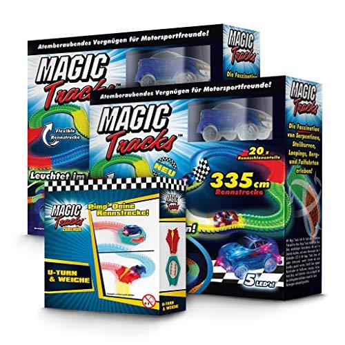 BCdirekt Magic Tracks U Turn Set   Autorennbahn für Kinder ab 3 Jahren   Leuchtende Autos   Kinder Spielzeug Set   Autorennbahn Leuchtend -