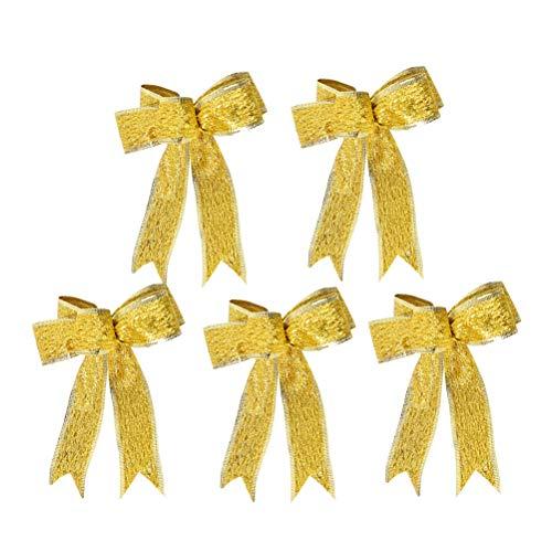 SUPVOX 5 teile/paket Große Weihnachten Bogen Glitter Glitzernde StoffGold Geschenk Band Baum Dekorationen Geschenke Kinder (Golden) (Bow Topper Tree)