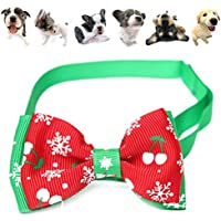 easyshop Regolabile natale pet cane gatto papillon cravatta fiocco di neve di Natale collare dell'animale domestico decorazione
