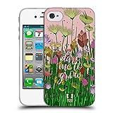 Head Case Designs Wagt Zu Wachsen Gestickter Druck Zitate Soft Gel Hülle für iPhone 4 / iPhone 4S