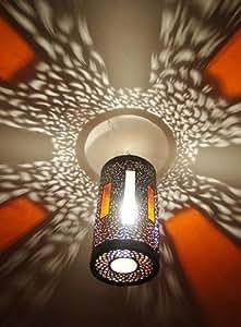 Lustre lampe plafonnier marocain en métal ciselé et verre sablé top design maroc