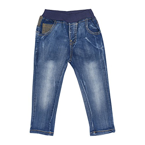 Tkria Kids Boys' Blue Denim Jeans Slim and Skinny Elastic Waist Trouser UK Size 2 To 8 Years