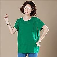 TAIDUJUEDINGYIQIE Camiseta de manga corta para mujer Summer New Suelta Sólida de manga corta, Verde, XL