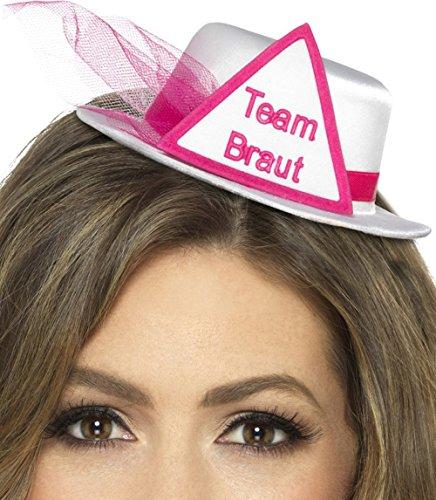 Party-Teufel Minihut Aufschrift Braut oder Team Braut mit Brautschleier und Haarclips Junggesellenabschied (Team Braut)
