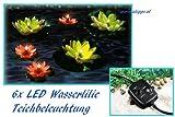 6x Teichbeleuchtung Wasserlilien Lichterkette Teichdekoration Seerose Teichrose