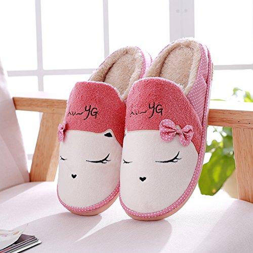 DogHaccd pantofole,Paio di pantofole di cotone inverno caldo di spessore non-slip Cartoon carino di uomini e donne home soffici pantofole Il rosso1