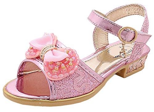 r Süße Prinzessin Offene Sandalen mit Bowknot Elegante Sandalen für Freizeit Party Geburtstag Fest Hochzeit Kostüme Rosa/36 (Hübsche Rosa Prinzessin Kostüm)