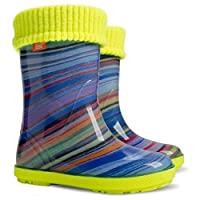 KIDS RAIN WELLINGTON Rainy Snow Boots Shoes Socks Children Wellies_Saturn