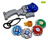 #8: BabyGo Set of 4 Beyblades Dragoon Dranzer Metal Legaends with Handle Launcher