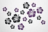WANDfee® Wandtattoo 16 Hibiskus Blüten AC0610117 Größe Ø 7 - 15 cm, 2 x Ø 15 cm, 4 x Ø 11 cm, 10 x Ø 7 cm Farbe schwarz lila