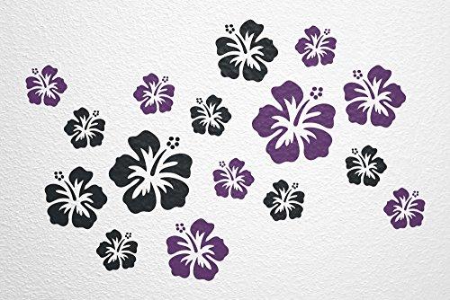 Preisvergleich Produktbild WANDfee® Wandtattoo 16 Hibiskus Blüten AC0610117 Größe Ø 7 - 15 cm, 2 x Ø 15 cm, 4 x Ø 11 cm, 10 x Ø 7 cm Farbe schwarz lila