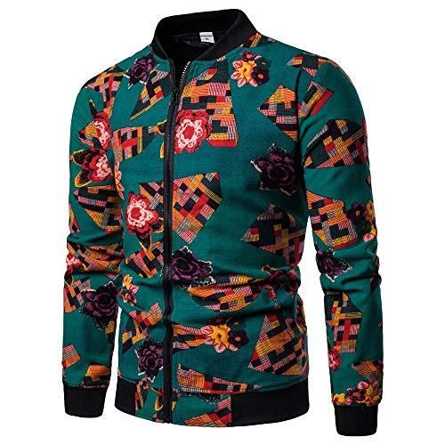 ZZBO Herren Sweatjacke Pullover Langarm Straight Zip Winter Sweatshirt Pulli mit Reissverschlüsse und Taschen Vintager Druck Outwear Elegant Freizeit Style Hochwertige S-XXL Grün