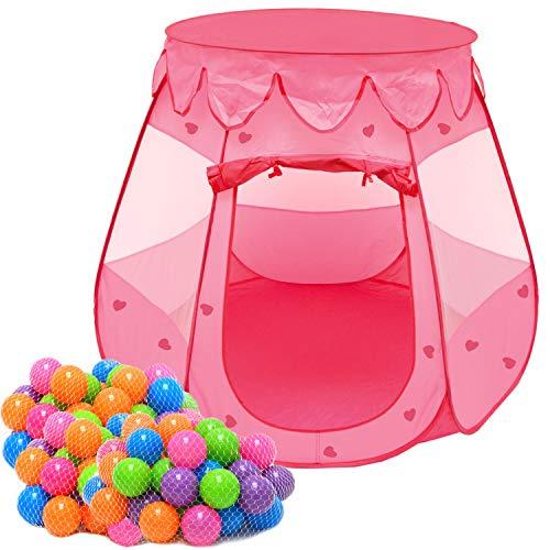 LittleTom Tente de Jeu Pop-up Rose 120x120x90cm pour Petites Filles + 200 Boules