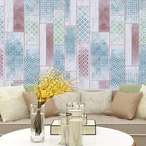 Hndrkj Tapete Steinoptik Weinlese Beunruhigte Faux-Holz-Planken-Tapete Für Wände 3D Verblasste Blau/Grün Für Wohnzimmer-Ausgangsschlafzimmer-Dekoration -