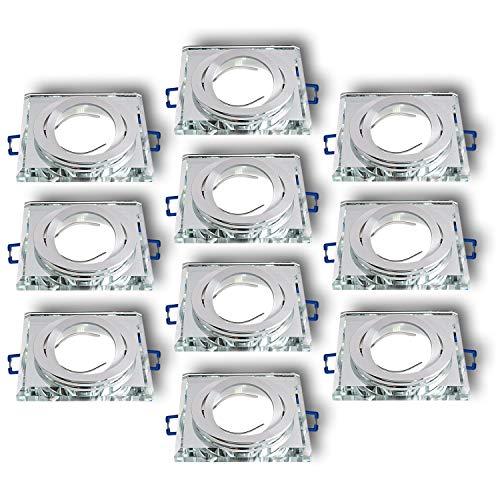 Einbaustrahler aus Glas/Spiegel/Klar CRISTAL-S Inkl. 10 X CRISTAL (Klar) Eckig Schwenkbar IP20 Deckenstrahler Einbauleuchte Deckeneinbauleuchte Deckenspot, 10x Fassung GU10 - ohne Leuchtmittel -
