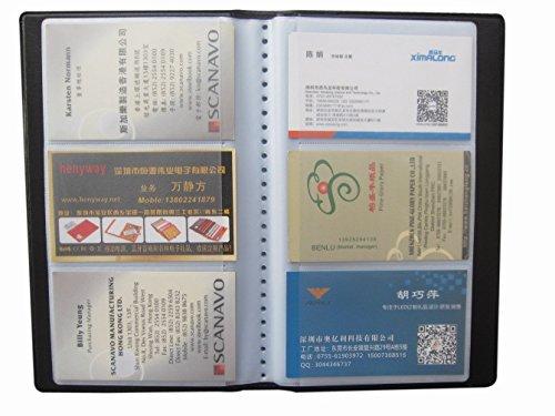 Mytlp Leder Visitenkarten Mappe für 300 Karten schwarz