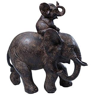 Deko Figur Elefant Dumbo Uno, Afrika Deko im Kolonialstil, kleiner Babyelefant mit Elternteil, Wohnzimmer Dekoration (H/B/T) 19x17,5x8,5cm