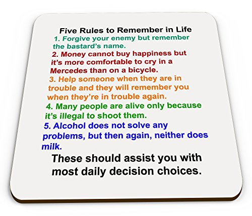 five-rules-to-remember-in-life-funny-novelty-glossy-mug-coaster