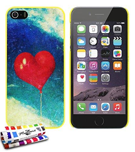 Ultraflache weiche Schutzhülle APPLE IPHONE 5S / IPHONE SE [Herzen ballon vintage] [Grun] von MUZZANO + STIFT und MICROFASERTUCH MUZZANO® GRATIS - Das ULTIMATIVE, ELEGANTE UND LANGLEBIGE Schutz-Case f Gelb
