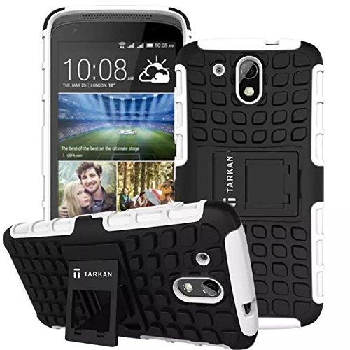 TARKAN Hard Armor Hybrid Rubber Bumper Flip Stand Rugged Back Case Cover For HTC Desire 526G Plus (526G+) - White