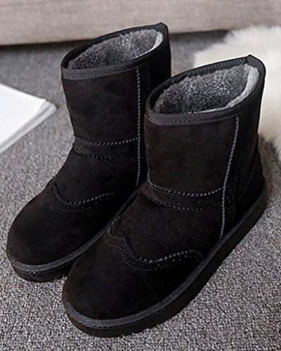 Minetom Damen Winter Warme Stiefel Mode Stiefeletten Flache Ferse Schneestiefel Rutschfest Boots Schuhe Schwarz