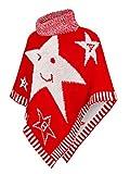 Kinder Mädchen Strick Poncho Rollkragen Pullover Cape Umhang Winter (601), Farbe:Rot, Kinder...
