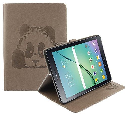 CLM-Tech Tasche Kunstleder für Samsung Galaxy Tab S2 9.7 (9.7 Wi-Fi SM-T810 / LTE SM-T815) Tablet Hülle mit Standfunktion und Kartenfach Panda Muster grau (Samsung Galaxy Tab 4 Portemonnaie)