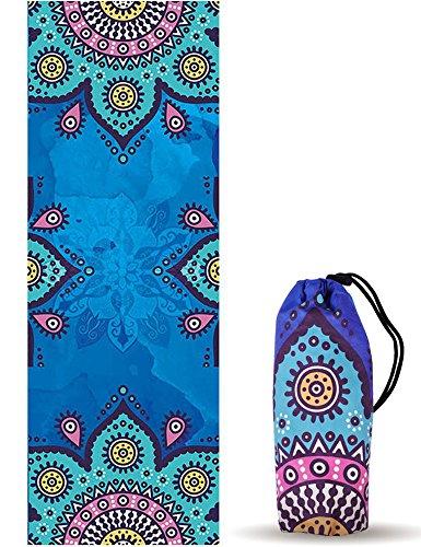 UCEC Hot Yoga Handtuch, Yoga-Matte/Handtuch mit Reisetasche, Rutschfest, Ultra Weich und Schweißabsorbierend für Hot Yoga, Bikram, Pilates und Fitness (Mandala 1), (Mandala 2)