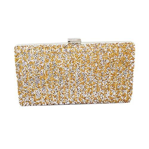 QQQQ Damen Abendtasche Mode Hot Diamond Clutch Bag Farbe Strass Bankett Tasche Crystal Dinner Handtasche Mini-Kette Tasche,C - Diamond Mini Drill
