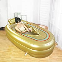 Bañera hinchable más gruesa tubo de adultos bañera bañera de plástico (oro)