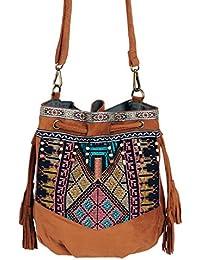 Beuteltasche Hippie Tasche Umhängetasche Fransentasche schwarz braun grün bunt Fransen Beutel Handtasche Boho bucket bag