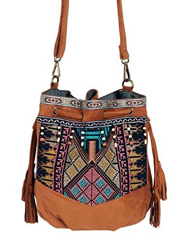 Beuteltasche Hippie Tasche Umhängetasche Fransentasche schwarz braun grün bunt Fransen Beutel Handtasche Boho bucket (Hippie Up Make)
