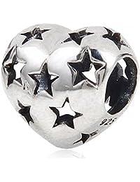 Cuenta en forma de corazón agujereada con estrellas, plata de ley 925, para cadenas de pulseras europeas