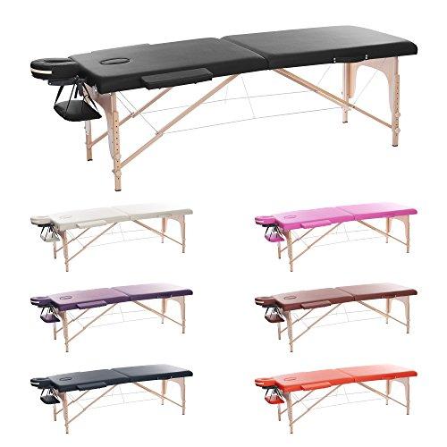H-ROOT 2 Zonen Leichte Tragbare Massage Tisch Couch Bett Sockel Therapie Tattoo Salon Reiki Heilende Schwedische Massage mit Kostenlosen Tragetasche 12.8KG (schwarz) -