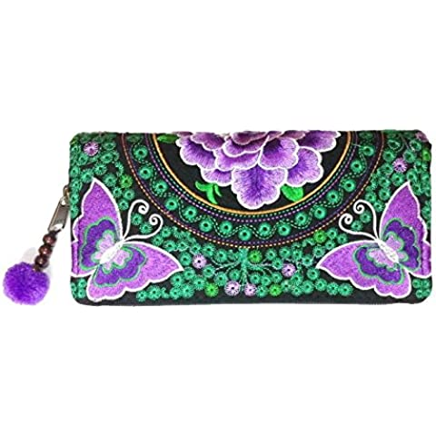 Wallet by JP Embroidery Butterfly Flower Zipper Wallet Purse Clutch